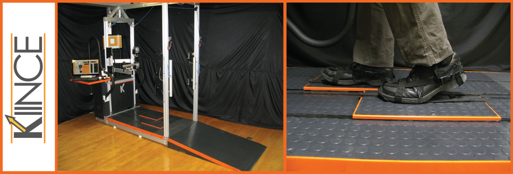 A collage with a logo that says Kiince, a photo of the Kiince device which looks somewhat like a treadmill, and a close up of a user's feet on the device.