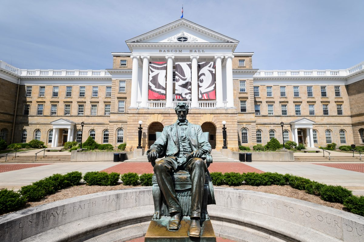 An image of the Lincoln Statue in front of Bascom Hall in spring.
