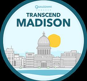 Logo that says Transcend Madison Qualcomm powered with illustration of Madison skyline and sun