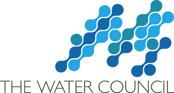 A logo that says The Water Council with blue and green connected dots