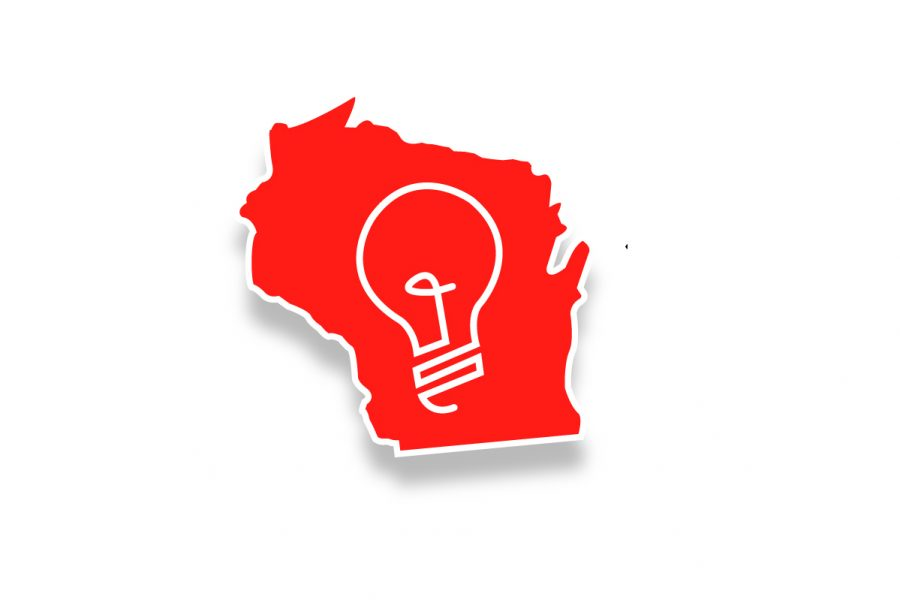 State of Wisconsin outline with lightbulb in middle