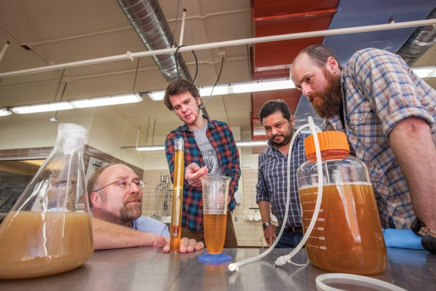 Photo of Jim Steele in the lab with students making beer