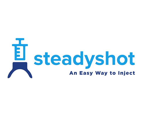 Logo that says SteadyShot a safer way to inject