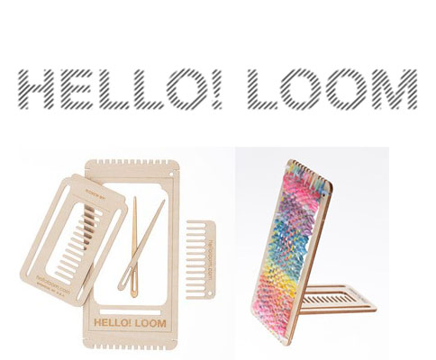 Logo that says Hello! Loom and pictures of a handheld loom with yarn on it